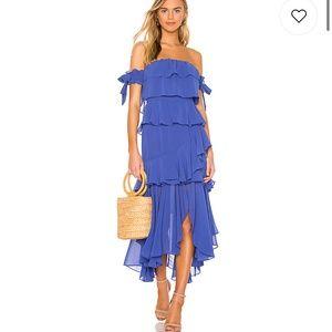 Misa Los Angeles Isidora Royal Blue Midi Dress NEW